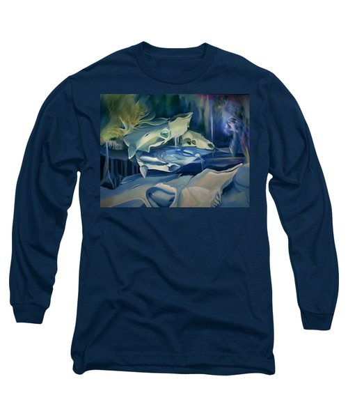 Long Sleeve T-Shirt featuring the painting Mural Skulls Of Lifes Past by Nancy Griswold