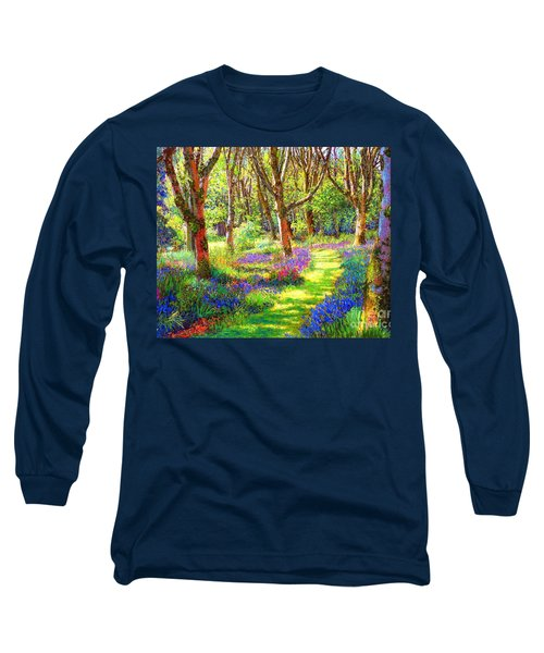 Long Sleeve T-Shirt featuring the painting Music Of Light, Bluebell Woods by Jane Small