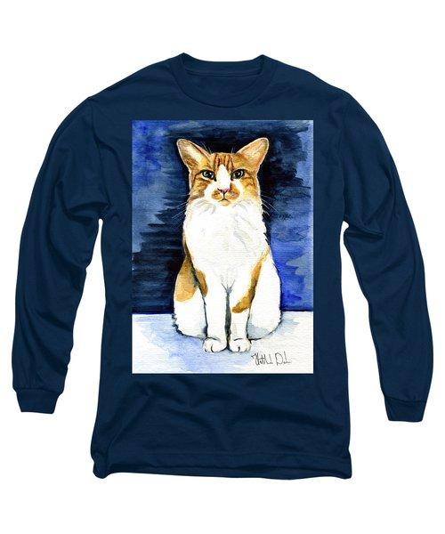 Mustached Bicolor Beauty - Cat Portrait Long Sleeve T-Shirt