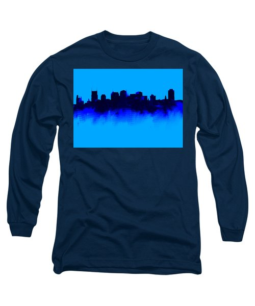 Nashville  Skyline Blue  Long Sleeve T-Shirt by Enki Art