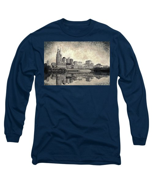 Long Sleeve T-Shirt featuring the mixed media Nashville Skyline II by Janet King