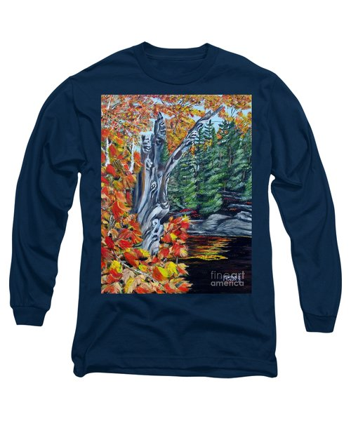 Long Sleeve T-Shirt featuring the painting Natures Faces by Marilyn  McNish