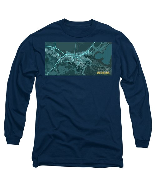 New Orleans Old Map Abstract Blue Long Sleeve T-Shirt