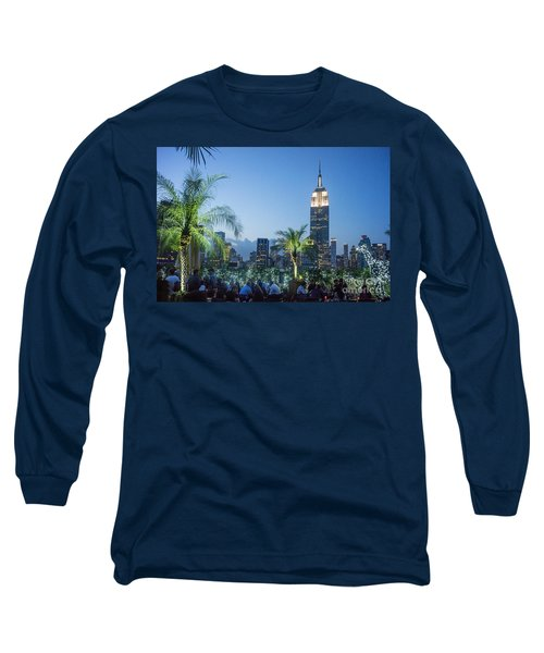 Long Sleeve T-Shirt featuring the photograph New York 230 Fith Rooftop Bar  by Juergen Held