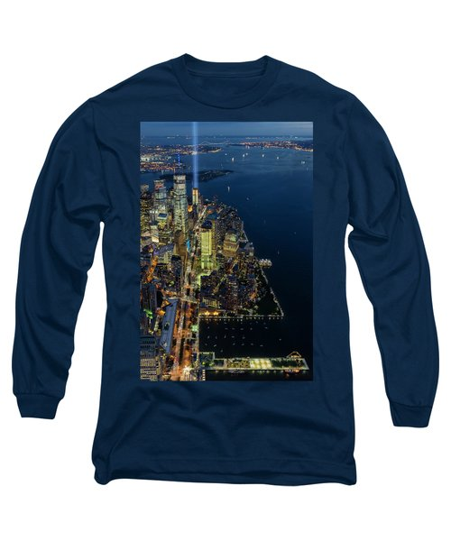 Long Sleeve T-Shirt featuring the photograph New York City Remembers 911 by Susan Candelario