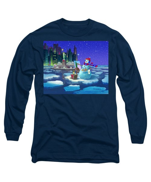 Long Sleeve T-Shirt featuring the painting New York Snowman by Michael Humphries