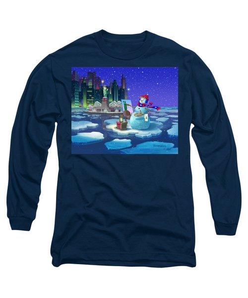 New York Snowman Long Sleeve T-Shirt by Michael Humphries