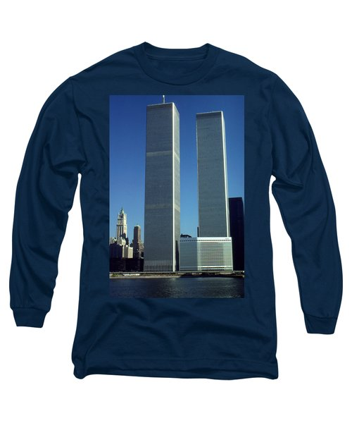New York World Trade Center Before 911 - Architecture Long Sleeve T-Shirt by Art America Gallery Peter Potter