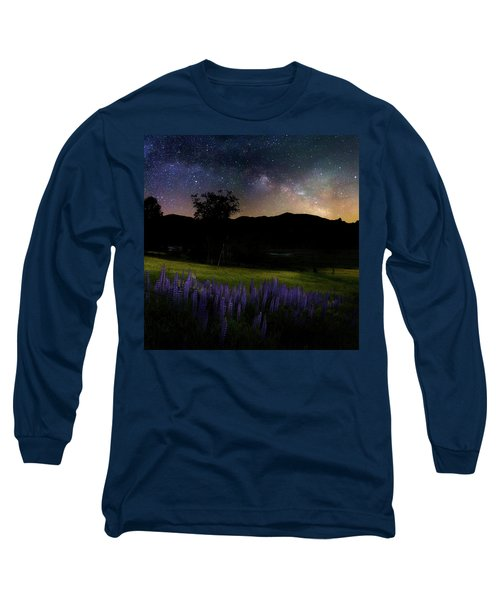 Long Sleeve T-Shirt featuring the photograph Night Flowers Square by Bill Wakeley