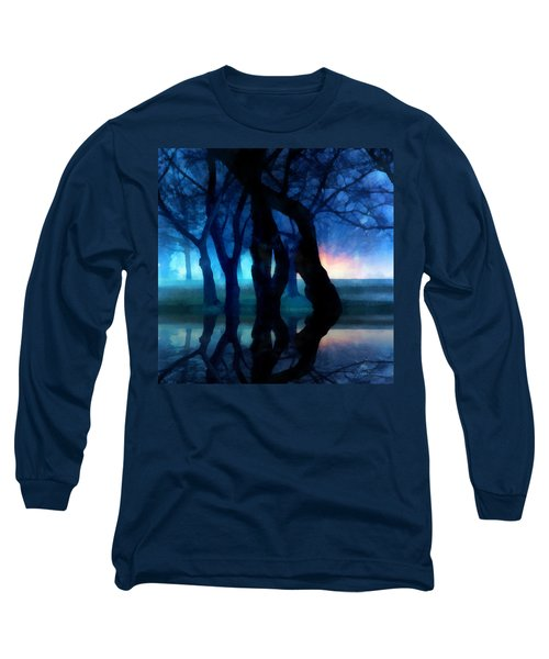 Night Fog In A City Park Long Sleeve T-Shirt by Francesa Miller