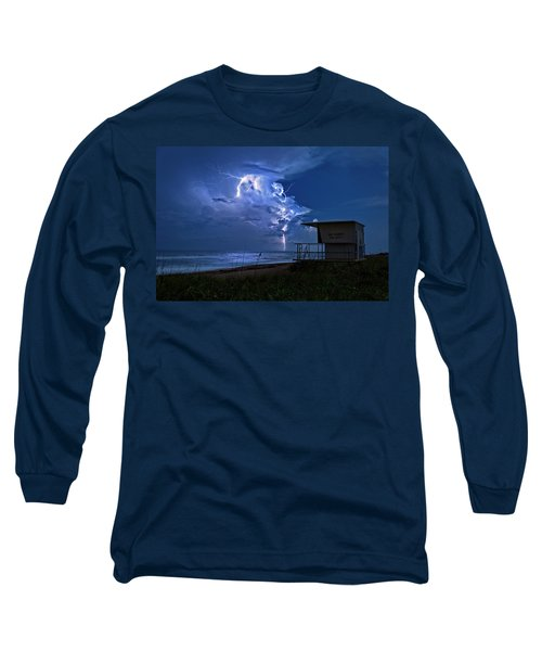 Night Lightning Under Full Moon Over Hobe Sound Beach, Florida Long Sleeve T-Shirt