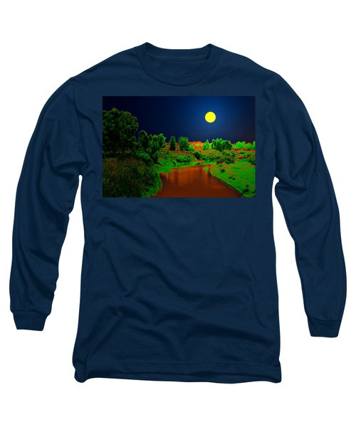 Long Sleeve T-Shirt featuring the digital art Night Moon And Nature by Bliss Of Art