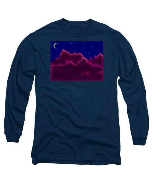 Long Sleeve T-Shirt featuring the digital art Night. Moon by Dr Loifer Vladimir