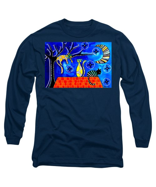 Night Shift - Cat Art By Dora Hathazi Mendes Long Sleeve T-Shirt by Dora Hathazi Mendes