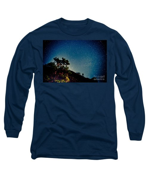 Night Sky Scene With Pine And Stars Long Sleeve T-Shirt