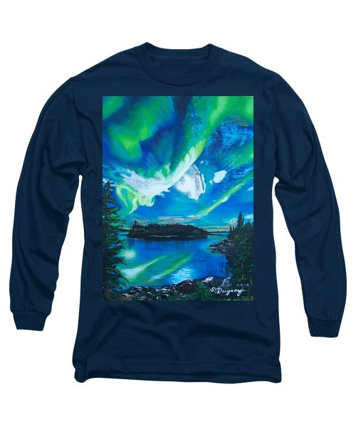 Northern Lights  Long Sleeve T-Shirt by Sharon Duguay