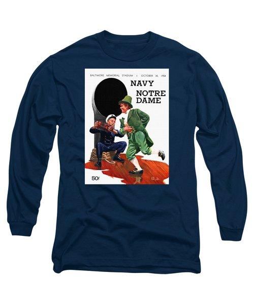 Notre Dame V Navy 1954 Vintage Program Long Sleeve T-Shirt