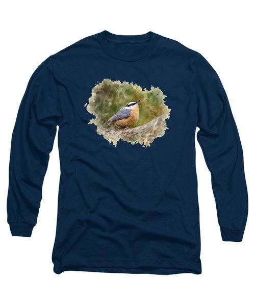 Nuthatch Watercolor Art Long Sleeve T-Shirt