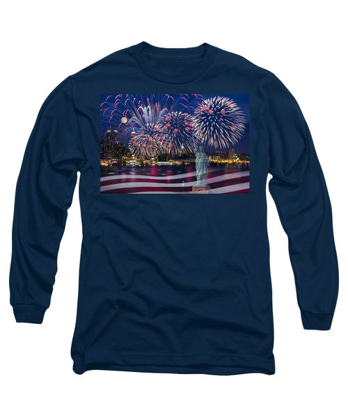 Long Sleeve T-Shirt featuring the photograph Nyc Fourth Of July Celebration by Susan Candelario