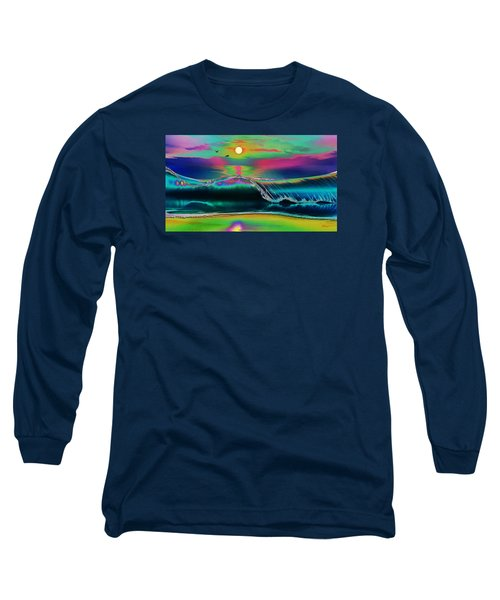 Ocean Sunset Abstract Long Sleeve T-Shirt