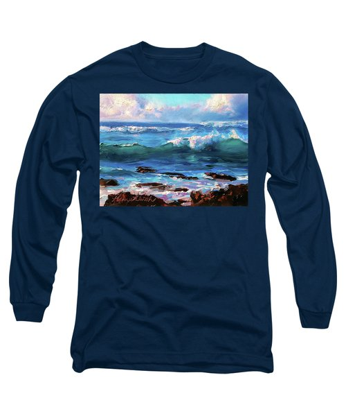 Coastal Ocean Sunset At Turtle Bay, Oahu Hawaii Beach Seascape Long Sleeve T-Shirt