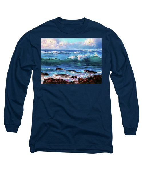 Coastal Ocean Sunset At Turtle Bay, Oahu Hawaii Beach Seascape Long Sleeve T-Shirt