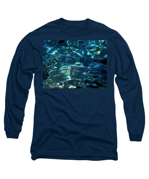 Long Sleeve T-Shirt featuring the photograph Ocean Water Reflections Island Santorini Greece by Colette V Hera  Guggenheim