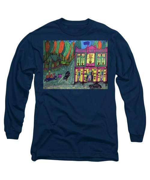 Long Sleeve T-Shirt featuring the drawing Oddfellows Building. Historical Menominee Art. by Jonathon Hansen