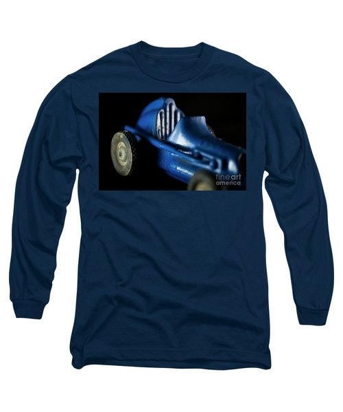 Old Blue Toy Race Car Long Sleeve T-Shirt by Wilma Birdwell