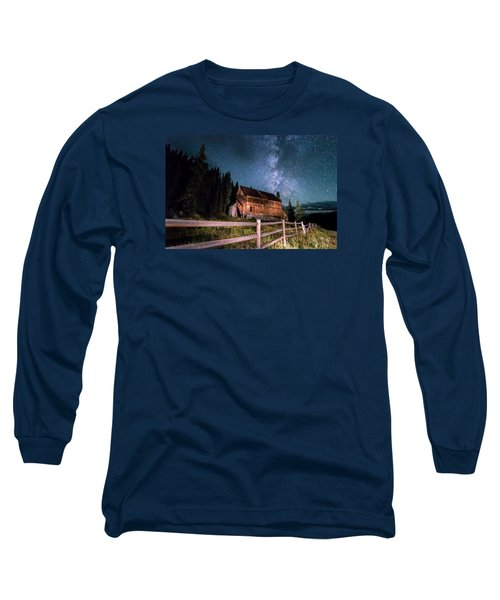 Old Mining Camp Under Milky Way Long Sleeve T-Shirt by Michael J Bauer
