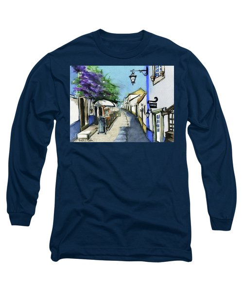Long Sleeve T-Shirt featuring the painting Old Street In Obidos, Portugal by Dora Hathazi Mendes