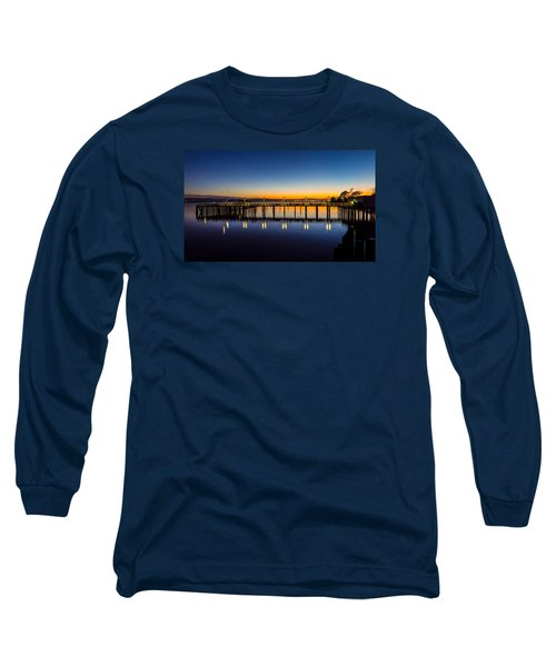 Old Town Pier Blue Hour Sunrise Long Sleeve T-Shirt by Rob Green