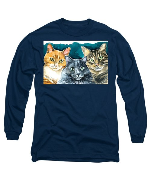 Oliver, Willow And Walter - Cat Painting Long Sleeve T-Shirt