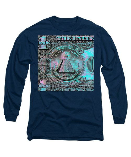 Long Sleeve T-Shirt featuring the digital art One-dollar-bill - $1 - Reverse Side by Jean luc Comperat