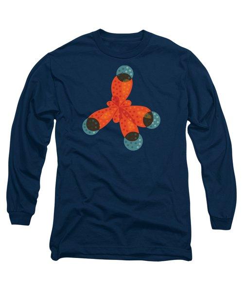 Orange Methane Molecule Long Sleeve T-Shirt