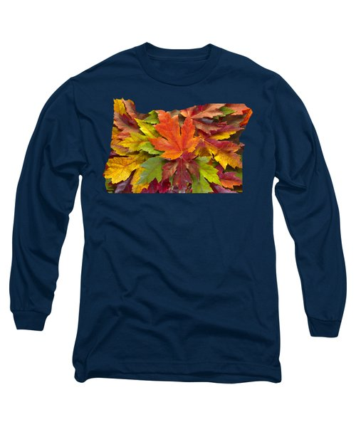 Oregon Maple Leaves Mixed Fall Colors Background Long Sleeve T-Shirt