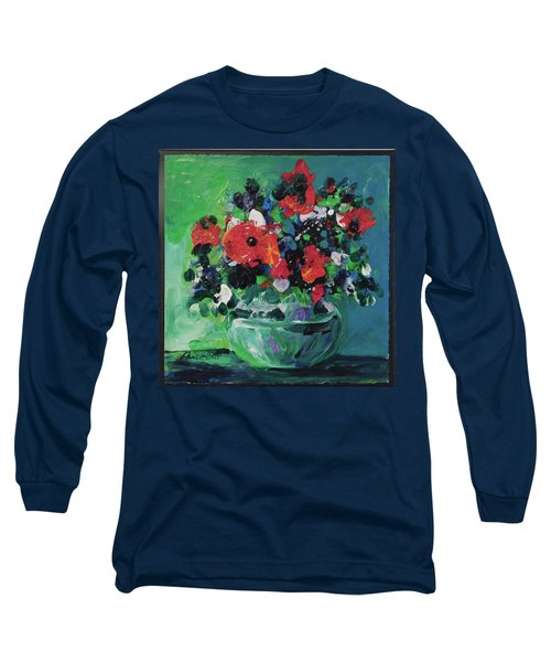 Original Bouquetaday Floral Painting By Elaine Elliott, Blues And Greens, 12x12, 59.00 Incl. Shippin Long Sleeve T-Shirt