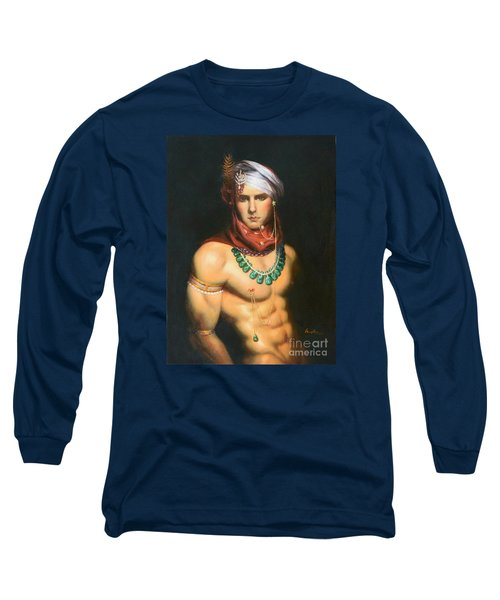 Original Classic Oil Painting Man Body Art-male Nude -068 Long Sleeve T-Shirt by Hongtao     Huang