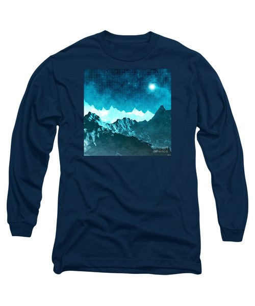 Long Sleeve T-Shirt featuring the digital art Outer Space Mountains by Phil Perkins