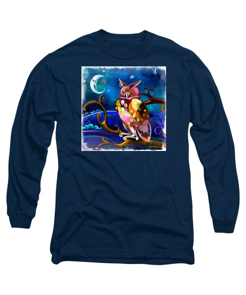Owl Watching The Moon Long Sleeve T-Shirt