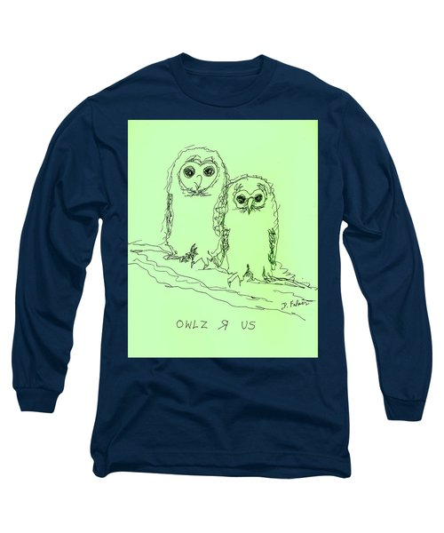 Long Sleeve T-Shirt featuring the drawing Owlz R Us by Denise Fulmer