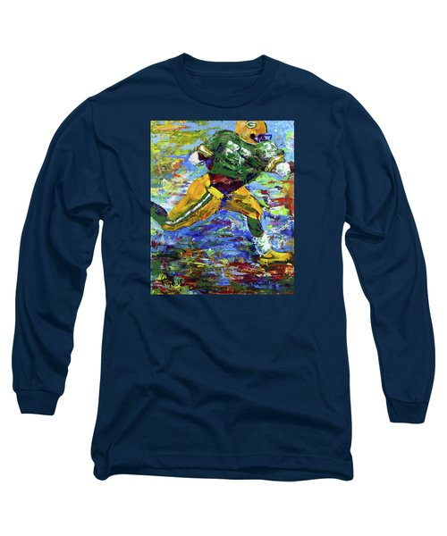 Long Sleeve T-Shirt featuring the painting Paeddie Lacy Running For Td  by Walter Fahmy