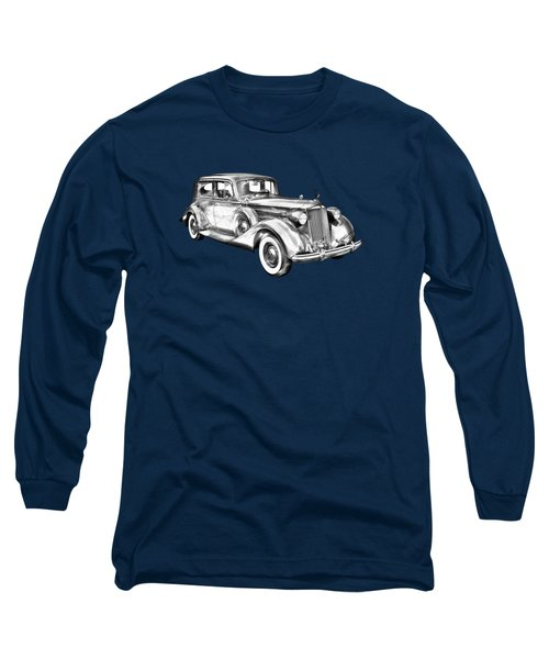 Packard Luxury Antique Car Illustration Long Sleeve T-Shirt by Keith Webber Jr