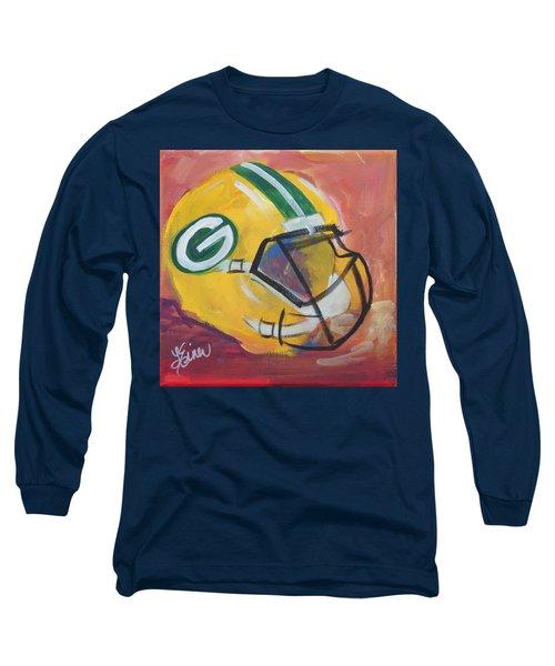 Packer Helmet Long Sleeve T-Shirt by Terri Einer