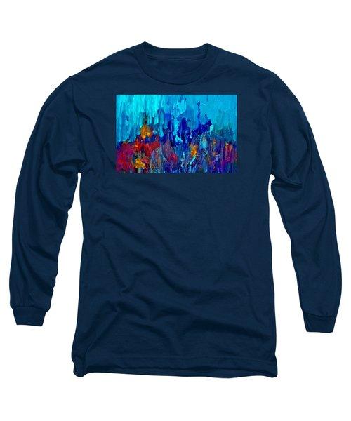 Painterly Garden Flowers Long Sleeve T-Shirt by Lisa Kaiser
