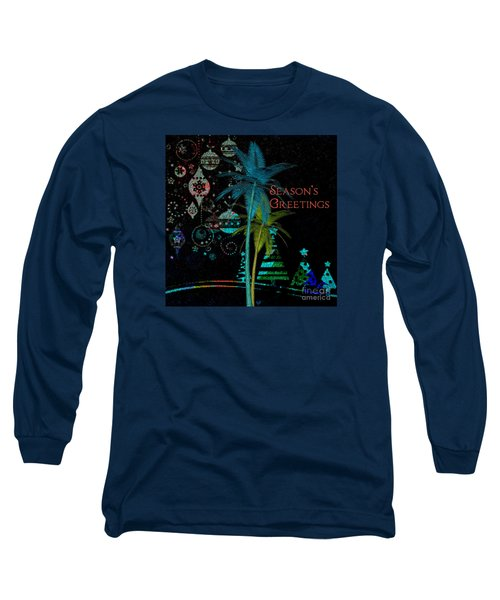 Long Sleeve T-Shirt featuring the digital art Palm Trees Season's Greetings by Megan Dirsa-DuBois