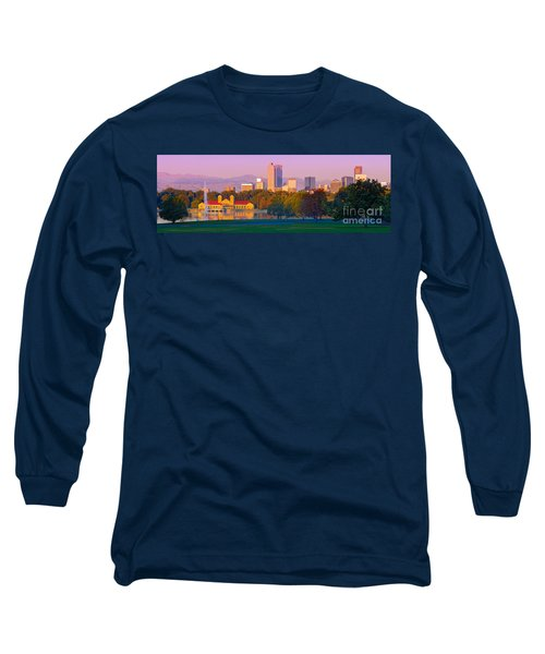 Panorama Of Denver Skyline From Museum Of Nature And Science - City Park Denver Colorado Long Sleeve T-Shirt