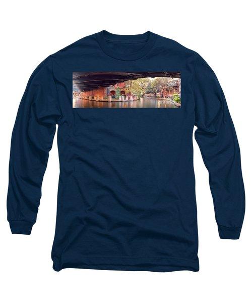 Panorama Of The San Antonio Riverwalk Underneath Navarro Street Bridge - Bexar County Texas Long Sleeve T-Shirt