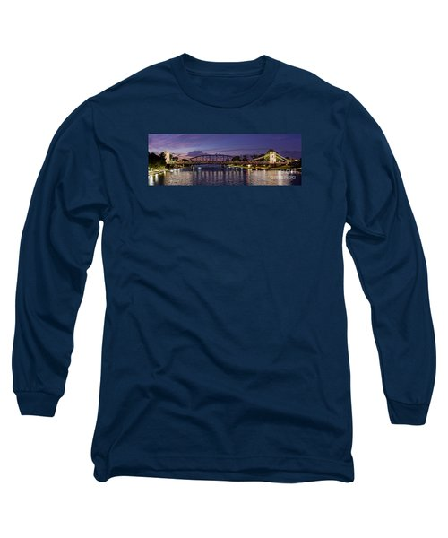 Panorama Of Waco Suspension Bridge Over The Brazos River At Twilight - Waco Central Texas Long Sleeve T-Shirt
