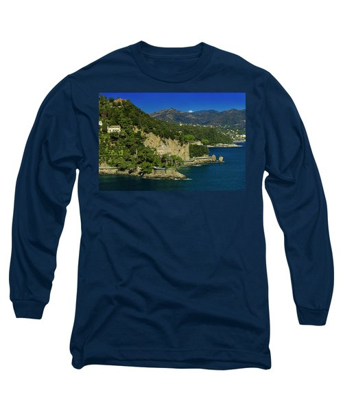 Paraggi Bay Castle And Liguria Mountains Portofino Park  Long Sleeve T-Shirt
